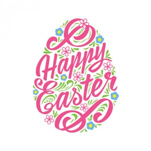Happy Easter greeting Card, hand-drawing Lettering. Typography Inscription