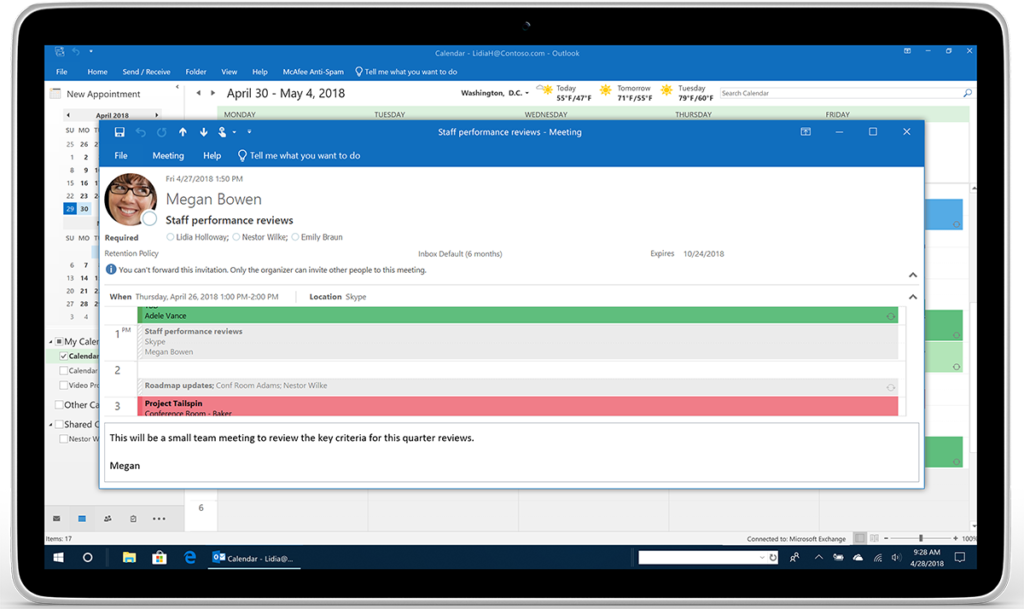 https://www.microsoft.com/en-us/microsoft-365/blog/wp-content/uploads/sites/2/2018/04/Image-4-Outlook_Calendar-No-forwarding-Lidia_Tablet_m1-1024x609.png